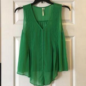 Sheer green sleeveless top